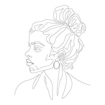 Une illustration de tête de femme minimaliste dessin au trait