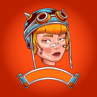 Illustration de tête de fille steampunk