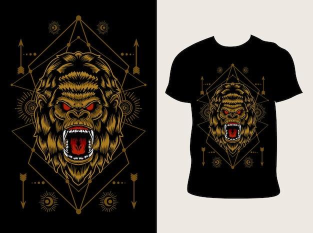 Illustration de tête de gorille en colère avec conception de t-shirt