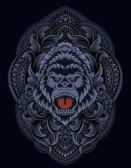 Illustration tête de gorille avec ornement de gravure