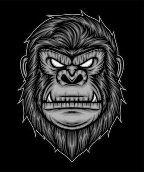 Illustration de tête de gorille. vecteur de prime