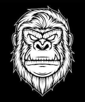 Illustration de tête de gorille vintage. vecteur de prime