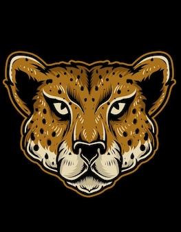 Illustration de tête de guépard isolé
