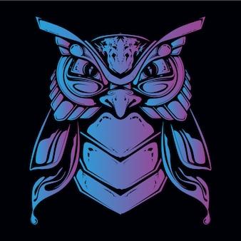 Illustration de tête de hibou bleu et violet