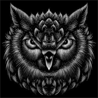 L'illustration de la tête de hibou