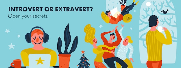 Illustration d'en-tête introverti ou extraverti