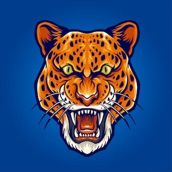 Illustration tête léopard