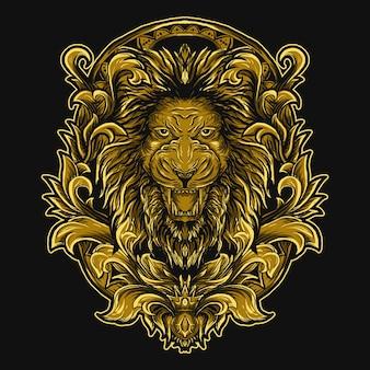 Illustration tête de lion doré gravure ornement