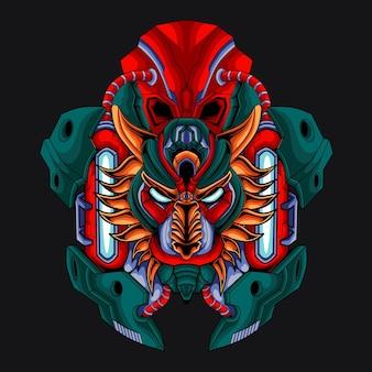 Illustration tête de lion mécanique