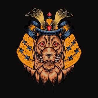 Illustration de tête de lion mecha