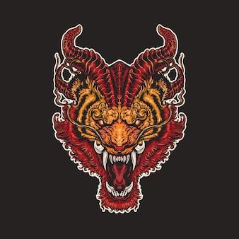 Illustration de tête de lion mythique