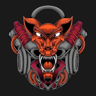 Illustration de tête de lion robot avec thème cyberpunk
