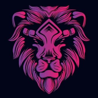 Illustration tête de lion rose