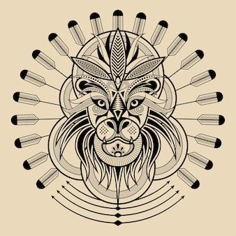 Illustration de tête de lion de style de ligne noire et blanche à motifs géométriques