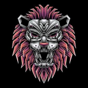 Illustration tête de lion style mecha