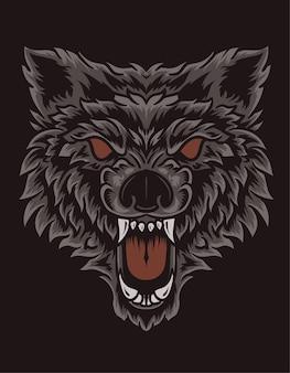 Illustration tête de loup en colère sur fond noir