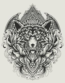 Illustration tête de loup en colère avec ornement vintage