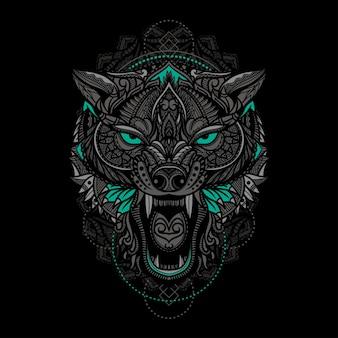 Illustration de tête de loup ethnique dessiné à la main