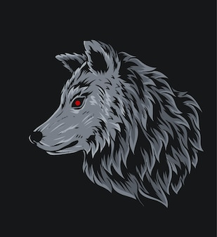 Illustration tête de loup sur fond noir
