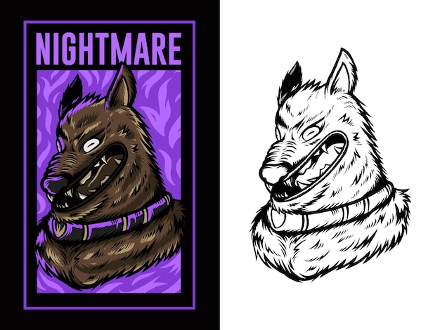 Illustration de tête de loup avec fond