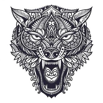 Illustration de tête de loup zentangle dessiné à la main