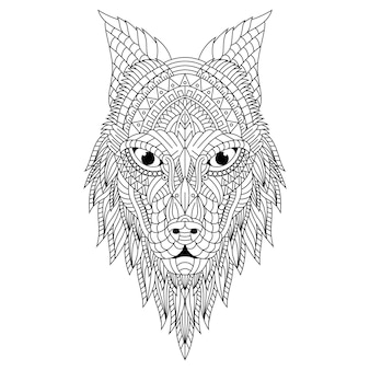Illustration de tête de loup zentangle dessiné à la main
