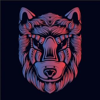 Illustration tête loup