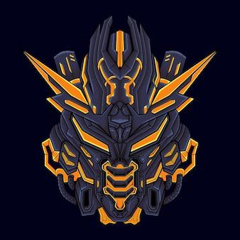 L'illustration de la tête de mecha peut être utilisée pour des conceptions de t-shirts, des tatouages, des papiers peints, des impressions d'art, etc