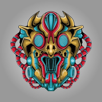 Illustration de tête de monstre extraterrestre mecha