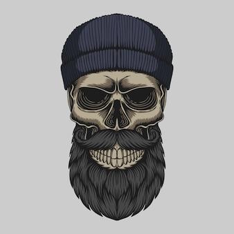 Illustration de tête de moustache barbu crâne