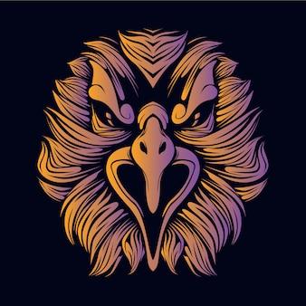 Illustration tête orange aigle
