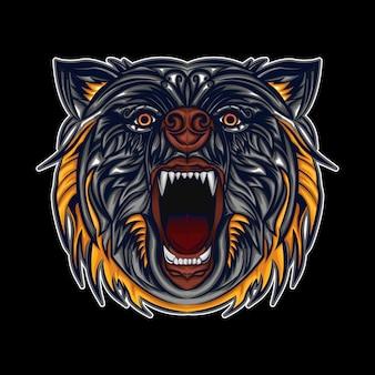 Illustration de tête d'ours en colère