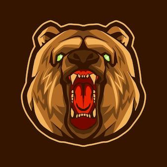 Illustration de tête d'ours isolée sur fond sombre