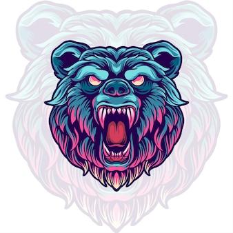Illustration de tête d'ours