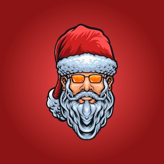 Illustration de tête de père noël cool