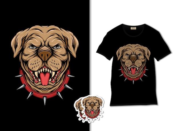 Illustration de tête de pitbull en colère avec un design de t-shirt, dessiné à la main