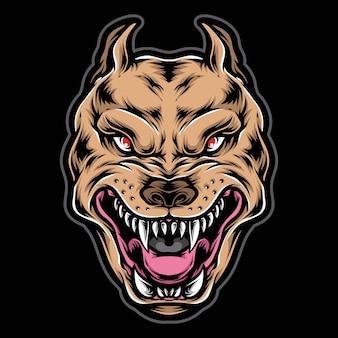 Illustration de tête pitbull colère