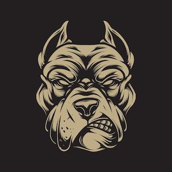 Illustration de tête de pitbull