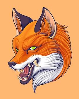 Illustration de tête de renard roux de style japonais