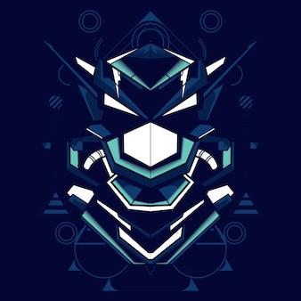 Illustration d'une tête de robot avec une combinaison de couleurs bleue et blanche vives