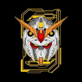 Illustration de tête de robot fantôme