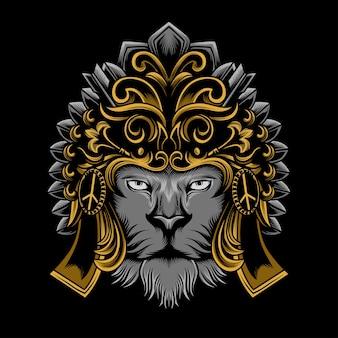 Illustration de tête de roi lion cool avec ornement