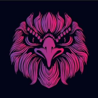 Illustration tête rose aigle