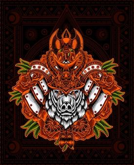 Illustration tête de samouraï de sanglier avec fleur rose