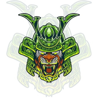 Illustration de tête de samouraï tigre