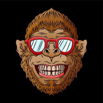 Illustration de tête de singe cool