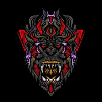 Illustration de tête de singe monstre