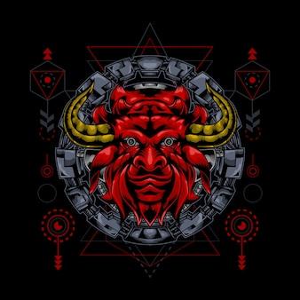 Illustration de tête de taureau de géométrie sacrée