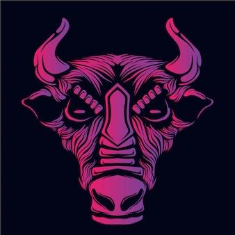 Illustration tête de taureau rose