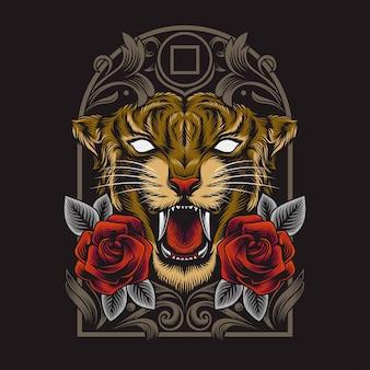 Illustration de tête de tigre en colère sombre avec des cadres ornementaux détaillés